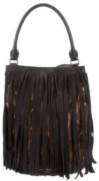 Burberry Ponyhair Fringed Bucket Bag