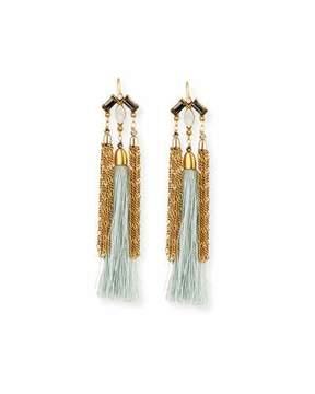 Sequin Chain & Silk Tassel Statement Earrings