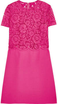 Valentino Rockstud Lace And Crepe Mini Dress - Fuchsia