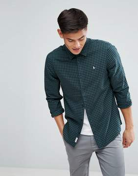 Jack Wills Salcombe Regular Fit Flannel Gingham Check Shirt In Navy/Green
