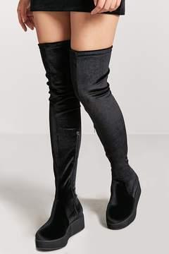Forever 21 Over-the-Knee Velvet Boots