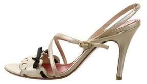Loewe Metallic Leather Ankle Strap Sandals