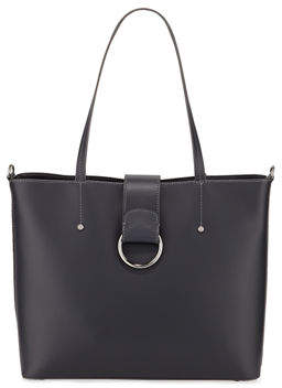 Neiman Marcus Smooth Tote Bag with Ring Detail
