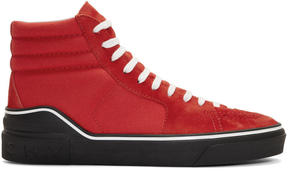 Givenchy Red Suede and Canvas High-Top Sneakers