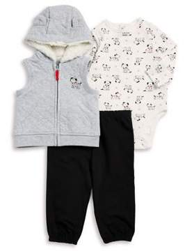 Little Me Baby Boy's Three-Piece Fleece Lined Hooded Vest, Graphic Cotton Bodysuit and Classic Cotton Sweatpants Set