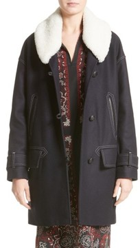 Belstaff Women's Apsley Genuine Shearling Collar Wool Blend Coat
