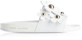 Marc Jacobs White Rubber Daisy Aqua Slides