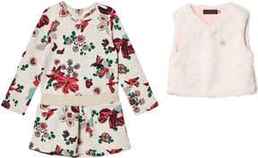 Catimini Grey Floral Sweat Dress with Faux Fur Gilet Set