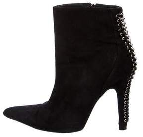 Versace Suede Chain-Link Ankle Boots