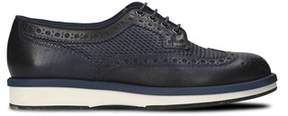 Santoni Men's Blue Leather Lace-up Shoes.