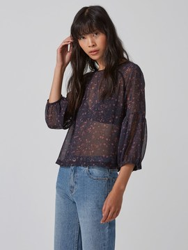 Frank and Oak Printed Chiffon Top in Graphite