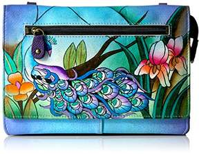 Anuschka Anna by Hand Painted Leather Organizer Wallet On String | Midnight Peacock