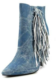 Luichiny Going Fast Women Pointed Toe Denim Blue Bootie.