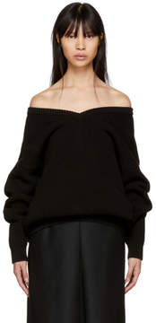 Balenciaga Black V-Neck Off-the-Shoulder Sweater