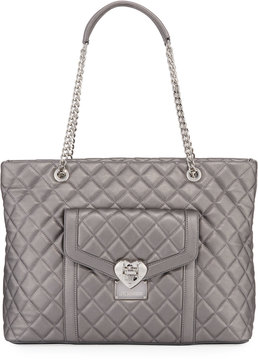 Love Moschino Quilted Faux-Leather Tote Bag