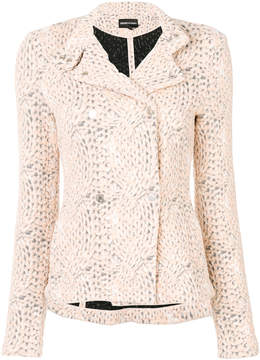Emporio Armani knit effect fitted jacket