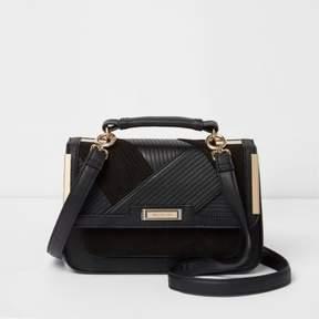 River Island Womens Black panel mini cross body satchel bag