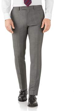 Charles Tyrwhitt Silver Slim Fit Italian Sharkskin Luxury Check Suit Wool Pants Size W36 L32