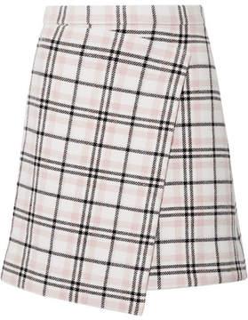 Carven Asymmetric Plaid Wool-blend Mini Skirt - Cream