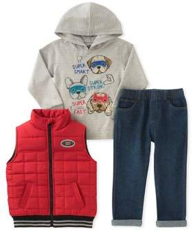 Kids Headquarters Little Boy's Three-Piece Quilted Vest, Graphic Hoodie and Classic Jeans Set