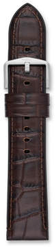 Fossil 22mm Dark Brown Croco Leather and Black Silicone Watch Strap