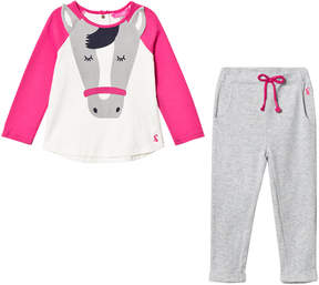 Joules Pink and Cream Horse Applique T-Shirt and Trousers Set