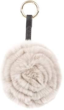 Adrienne Landau Leather-Trimmed Fur Keychain