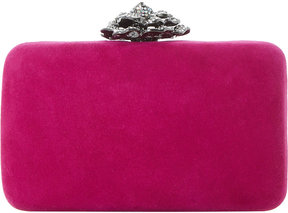 Dune Bellflower embellished suede clutch bag