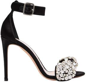 Alexander McQueen 105mm Crystal Bow Satin Sandals