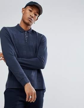 Aquascutum London Leon Long Sleeve All Over Tonal Club Check Polo Shirt in Navy