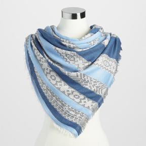 World Market Blue Jacquard Stripe Scarf