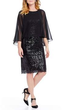 Alex Evenings Chiffon Overlay Sequin Dress