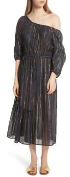 Apiece Apart Camellia Stripe One Shoulder Dress