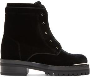 Alexander McQueen Black Velvet Lug Sole Zip Boots