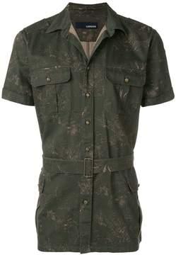 Lardini printed belted waist shirt