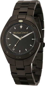 JCPenney FINE JEWELRY Personalized Dial Mens Black Stainless Steel Watch