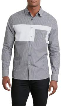 Kenneth Cole New York Reaction Kenneth Cole Black Grid Pieced Shirt - Men's