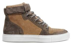 Eleventy Men's Brown Suede Hi Top Sneakers.