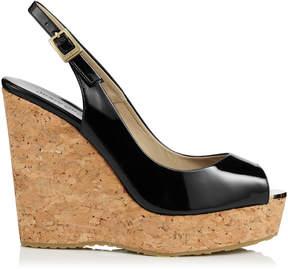 Jimmy Choo PROVA Black Patent Leather Cork Wedge Sandals