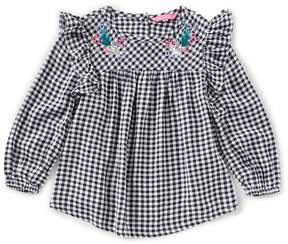 Joules Little Girls 3-6 Floral-Embroidered Gingham Top