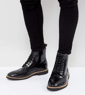 Asos Wide Fit Lace Up Boots In Black Leather
