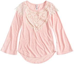Beautees Lace-Shoulder Top, Big Girls (7-16)