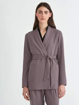 Frank and Oak Relaxed Belted Gabardine Blazer in Dark Lilac