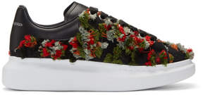 Alexander McQueen Black Frayed Trim Sneakers