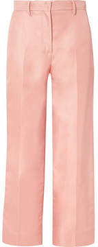 Mansur Gavriel Silk-shantung Straight-leg Pants - Blush