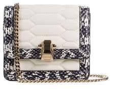 Roberto Cavalli Mini White Textured Leather Chained Crossbody Bag
