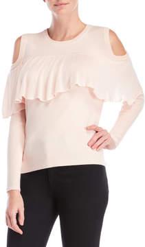 Cliche Ruffle Cold Shoulder Sweater