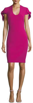 Badgley Mischka Self-Tie Short-Sleeve Sheath Dress