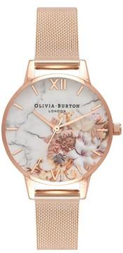 Olivia Burton Women's Marble Florals Mesh Strap Watch, 30Mm