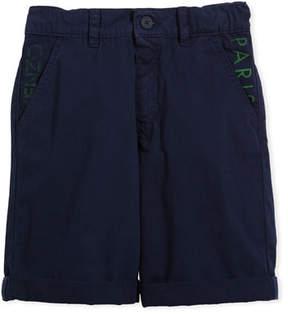 Kenzo Chino Shorts w/ Logo Pockets, Navy, Size 8-12